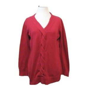Coldwater Creek Red V Neck Cotton Blend Sweater M